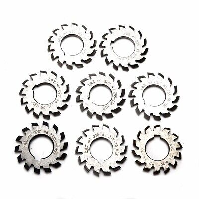 Set 8Pcs Module M1 Inner Bore 22mm #1-8 HSS Involute Gear Cutters Disk-shaped