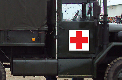Red Cross Vinyl Decal with White Square Background - You Pick Size & Color