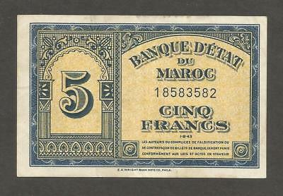 Morocco 5 Francs 1943; EF; P-24; L-B218;S/B-1501; WWII issue,Printed in the USA
