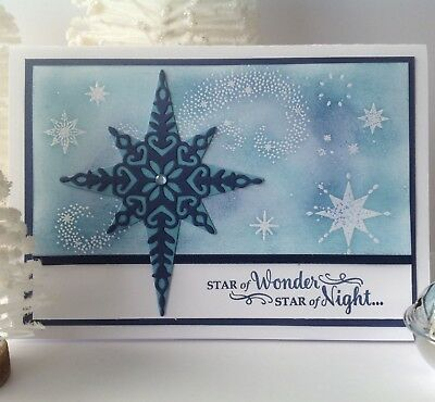 Handmade Christmas card; Night Sky - navy blue.