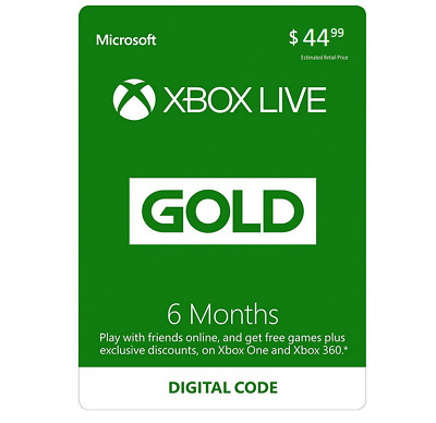Xbox Live 6 Month Gold Membership Card Digital Key For Microsoft Xbox 360 / Xbox