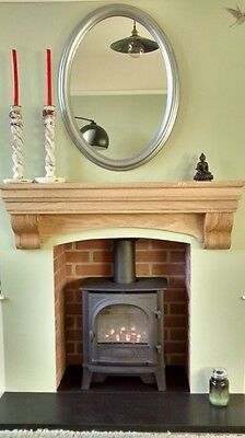 Fireplace Aga Mantelpiece, Solid oak beam, shelf with corbels, oak mantle