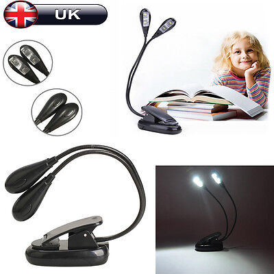 4 LED Flexible Book Lamp Clip-On Light Bright Double Flex Reading Music Stand UK