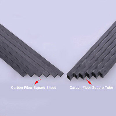 Carbon Fiber Square Tube & Sheet 1.7mm 2mm 3mm 4mm 5mm OD 200mm Or 400mm Length