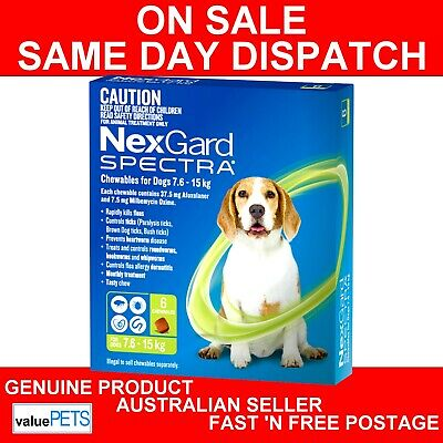 NexGard Spectra Chewables For Dogs Green 7.6-15kg 6 Pack