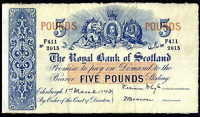 The Royal Bank of Scotland: Five pounds, 1-3-1943, F411 2015, (Banknote Year ...