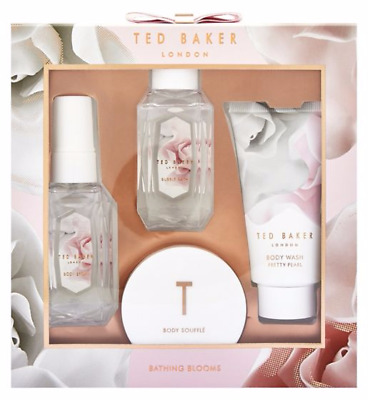 Ted Baker Bathing Blooms Christmas Gift Set. Body wash, Souffle, Spray, Bubble