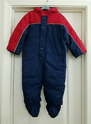 EUC Gap Baby Boys Blue Red Outerwear Down Snow, 18-24 mos