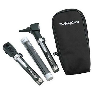 Welch Allyn Pocket JR Set Ophthalmoscope Otoscope 2 Handles + Soft Case GENUINE