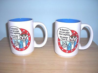 2 New Maxine Patriotic Cups Coffee Mugs ~ In America U Can Gripe About Anything