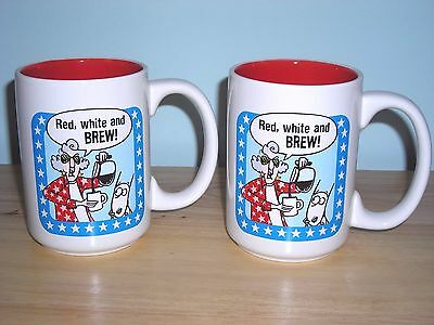 2 New Maxine & Dog Floyd Ceramic Patriotic Cups Coffee Mugs ~ Red White & Brew