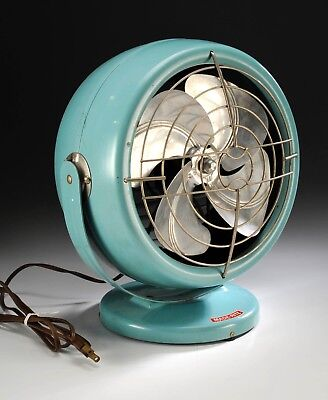 Vintage Turquoise Mid Century Modern MCM (Art Deco) Made-Rite Fan