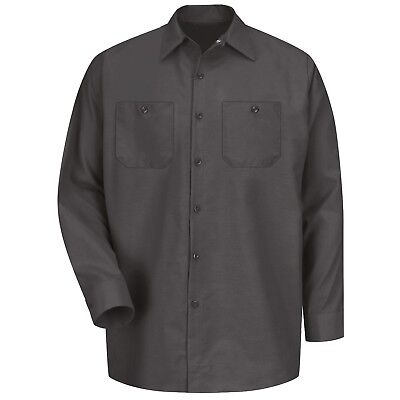 Red Kap Mens Long Sleeve Industrial Work Shirt - Charcoal