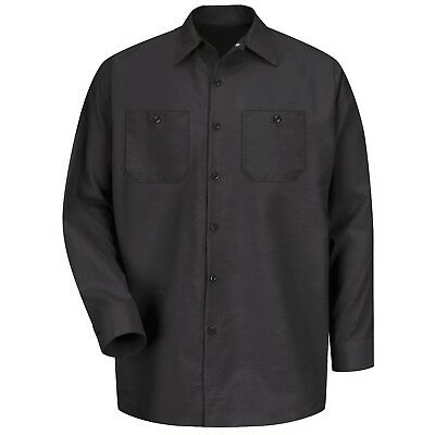 Red Kap Mens Long Sleeve Industrial Work Shirt - Black