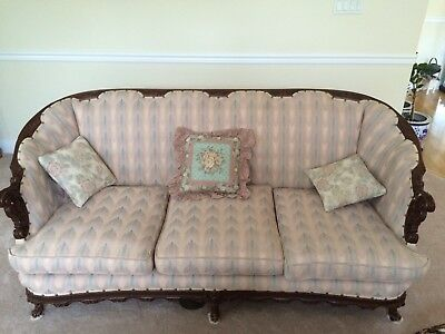 Antique  wood carved  Couch & 2 Chairs living room suite 4 pieces