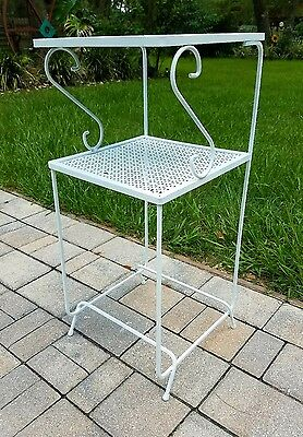 Mid-Century wrought iron plant stand table telephone stand white French country