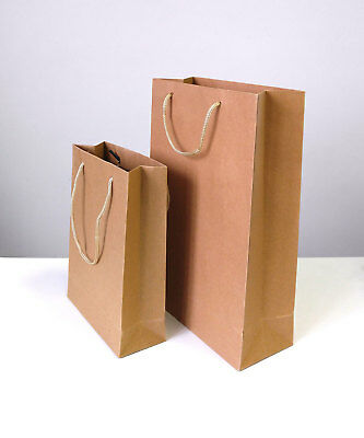 Brown Kraft Paper Carrier Gift Bags With Twisted Gold Lace Handle 250gsm