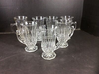Beautiful Vintage Set Of 7 Cut Glass Irish Coffee Mugs