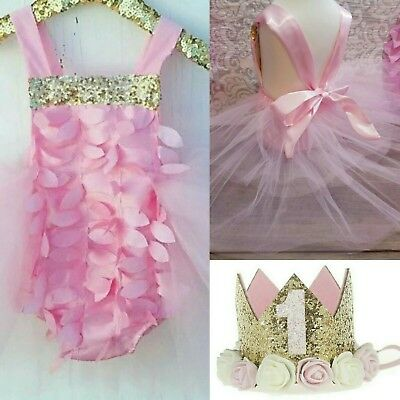 baby girl first 1st birthday party dress outfit cake smash photo shoot crown