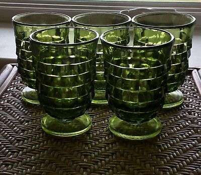 """5 Indiana Colony WHITEHALL AMERICAN Green Avacado Juice Glasses Set Of Five 4"""""""
