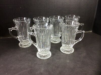 Beautiful Vintage Set Of 6 Elegant Cut Glass Irish Coffee Mugs