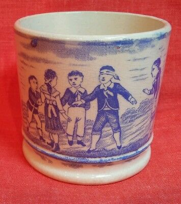 ANTIQUE 1800`s STAFFORDSHIRE BLUE TRANSFER CHILD CUP BLIND MAN`S BUFF