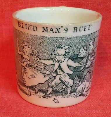 ANTIQUE 1800`s STAFFORDSHIRE GREEN TRANSFER CHILD CUP PLAYING BLIND MAN`S BUFF