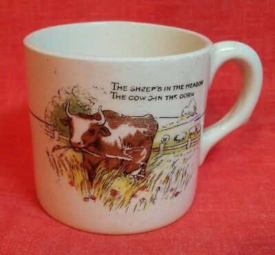 ANTIQUE 1800`s STAFFORDSHIRE TRANSFER CHILD CUP SHEEP IN MEADOW COWS IN CORN