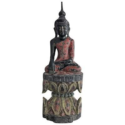 Antique Polychrome Buddha on Lotus Throne