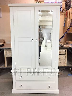 Handmade Dewsbury White Painted 2 Drawer And Mirror Door Wardrobe Assembled