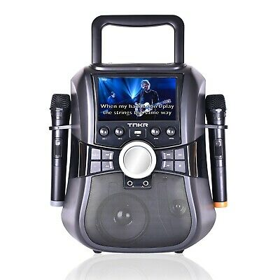 "Karaoke Machine Wireless microphones CDG DVD 7"" LCD - FACTORY REFURBISHED 1 ONLY"