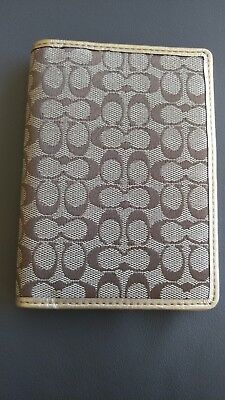 Coach Passport Wallet Holder Mini C Print Gold Trim Inside and Out
