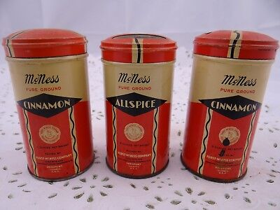 Antique Tin McNess Spice Jar Vintage Metal Tins 3 in Lot