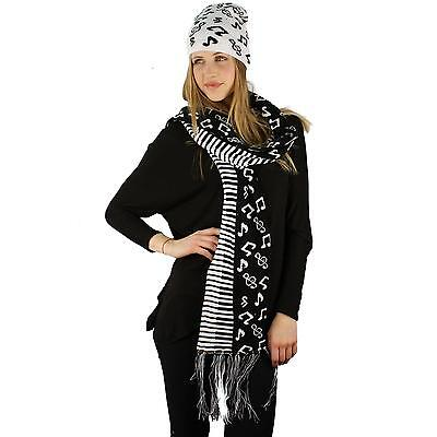 Unisex 2pc Winter Thick Knit Piano Music Notes Beanie Hat Scarf Ski Set White