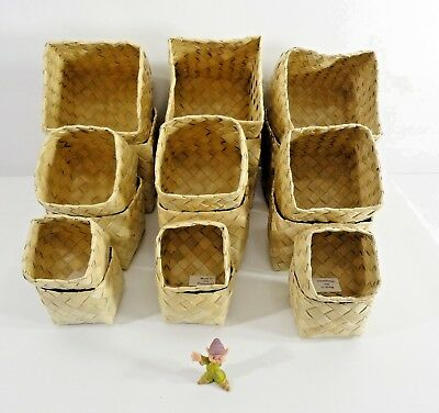 New Three Sets of a 6 Piece Set of Woven Bamboo 4 Inch Cube Baskets