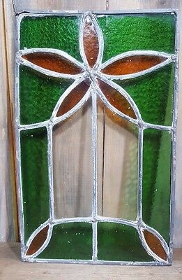 "Vintage Antique Leaded Stain Glass Window 14"" X 9"" Architectural  Cabinet Hanger"