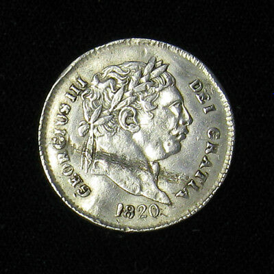 1820 Great Britain Three 3 Pence KM# 670 silver coin King George III