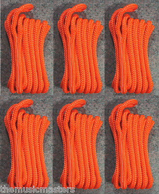 "(6) Orange Double Braided 3/8"" x 15' ft Boat Marine HQ Dock Lines Mooring Ropes"