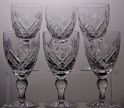 "Royal Brierley Crystal ""rbr31"" Cut Claret Wine Set Of 6 - 51/4"" (13.5 Cm) Tall"
