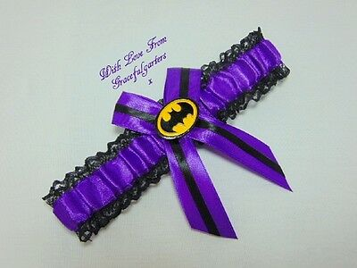 Purple Batman Lace Bridal Wedding Garter. Suicide Squad.