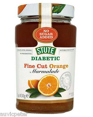 Stute Diabetic Fine Cut Orange Marmalade 430g, No Sugar Added, No Preservatives
