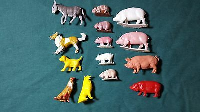 Toy Farm Plastic Dogs, Donkey and Hogs