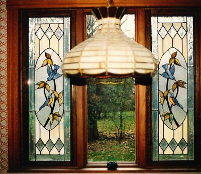 GORGEOUS PAIR STAINED GLASS WINDOWS and MATCHING CHANDELIER, E F CALDWELL color.