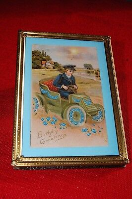 Vintage Birthday Greetings boy in car Postcard in vintage metal picture frame