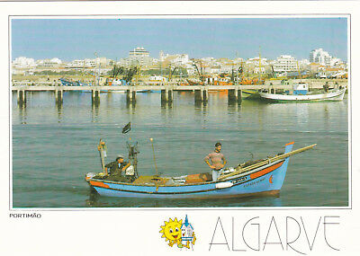Portimao Fishing Harbour and Town Portugal Postcard unused VGC