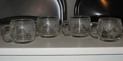 Lot of 4 USED 1976 ITD Colonial Cupboard Nestle NESCAFE Etched World Coffee Mugs