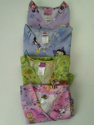 Lot of Four Small Women's Disney Scrub Tops Assorted Characters