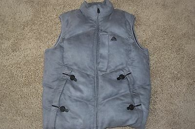 Vtg NIKE ACG mens Gray micro-suede Goose down puffy puffer oversized Vest XL