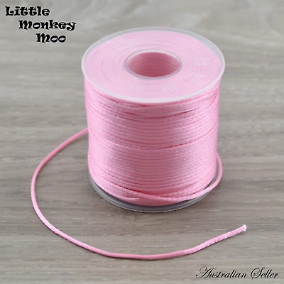Pink Satin Nylon Cord 1.5mm Teething DIY Necklace Beads Jewellery 1 to 40 Meters