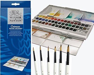 Winsor   Newton Cotman Half Pan Water Colour Studio Set Plus 6 Watercolour Pearl